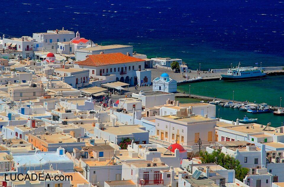 Il centro di Mykonos dall'alto