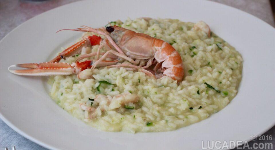 risotto con zucchini e scampi