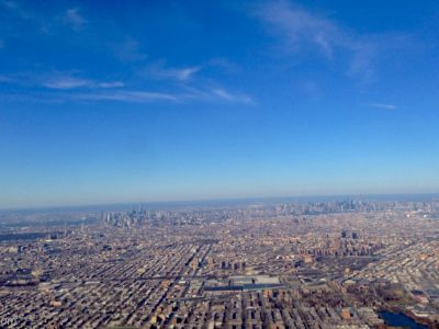 View of New York City from flight