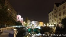 Veduta notturna di Lubiana