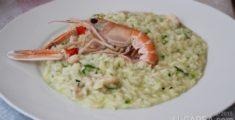 Risotto con zucchini e scampi (foto)