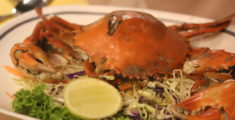 Granchio splendido alla griglia in Thailandia (foto macro)