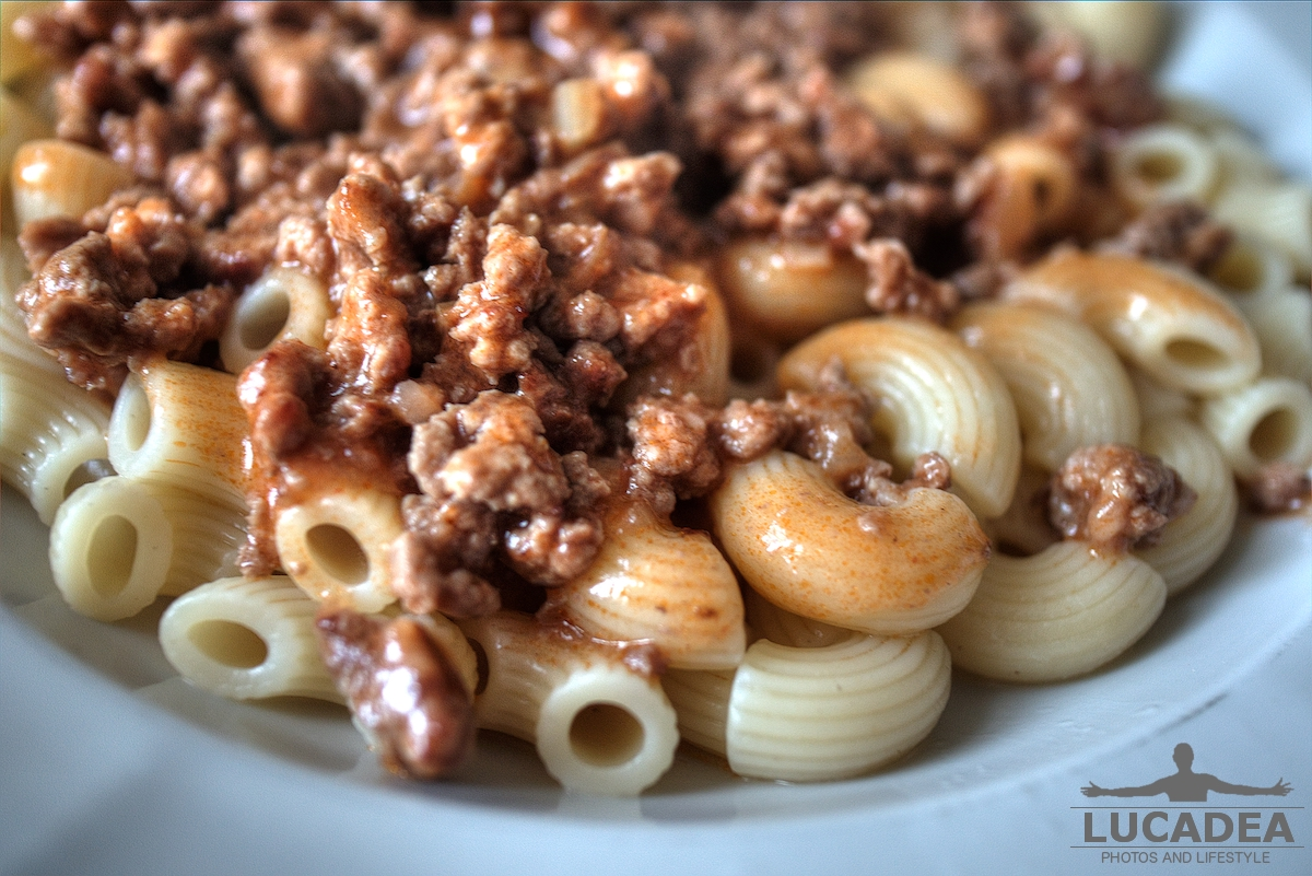 Carne trita e pasta close-up
