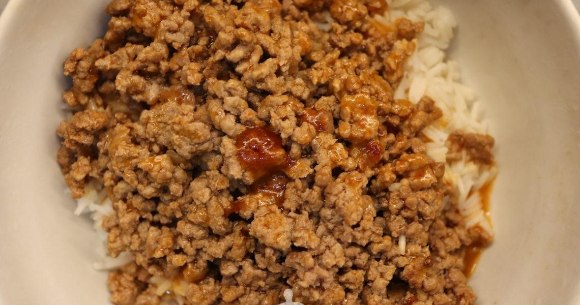 Carne tritata con riso in bianco