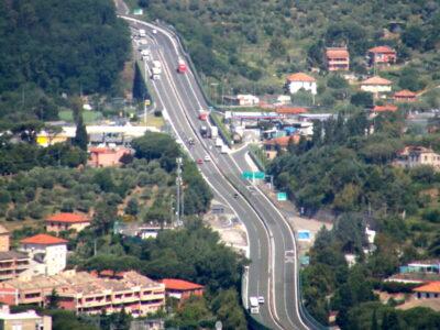Il tratto di autostrada a Sestri Levante