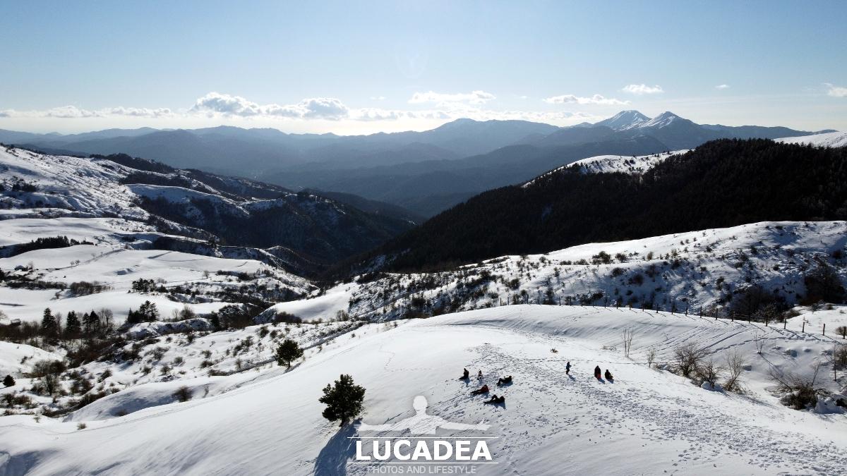 La vista dal Passo di Centocroci con la neve