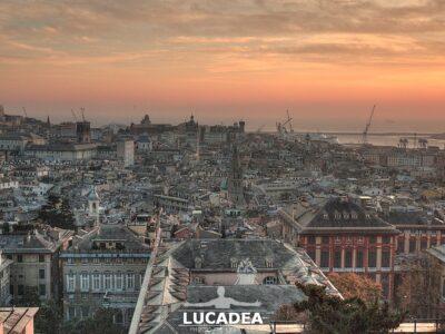 La vista di Genova al tramonto